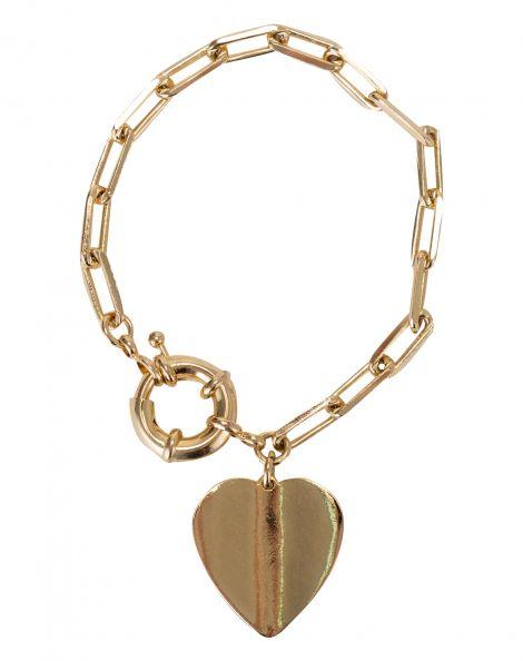 Amaro Feminino Pulseira Coração Folheada, Dourado