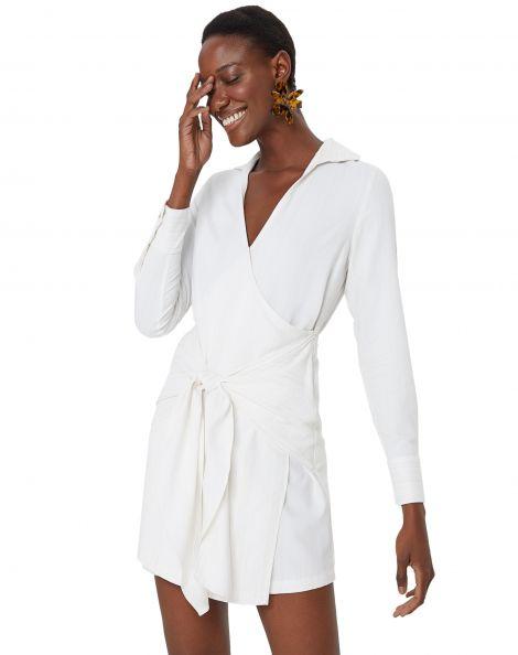 Amaro Feminino Vestido Curto Chemise Com Amarração, Branco