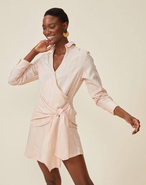Amaro Feminino Vestido Curto Chemise Com Amarração, Laranja