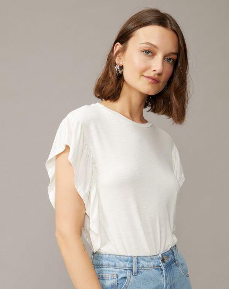 Amaro Feminino Camiseta Viscose Manga Com Babado, Branco