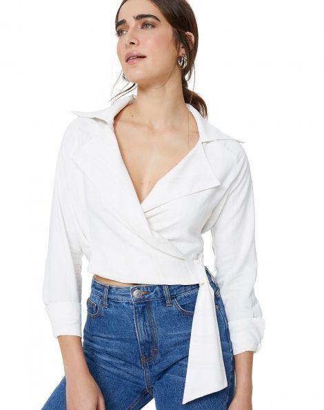Amaro Feminino Camisa Viscose Gola Blazer Amarração Lateral, Branco
