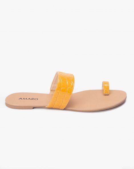 Amaro Feminino Rasteira Minimal Dedo, Amarelo