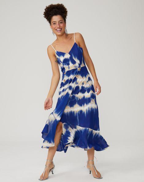 Amaro Feminino Vestido New Tie Dye, Azul