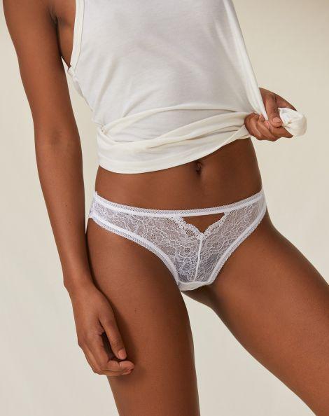 Amaro Feminino Calcinha Slip Com Abertura, Branco