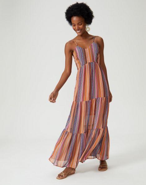 Amaro Feminino Vestido Maxi Listras Geometric Brilho, Laranja