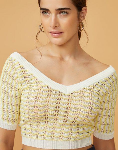 Amaro Feminino Blusa Cropped Textura Ondas, Amarelo