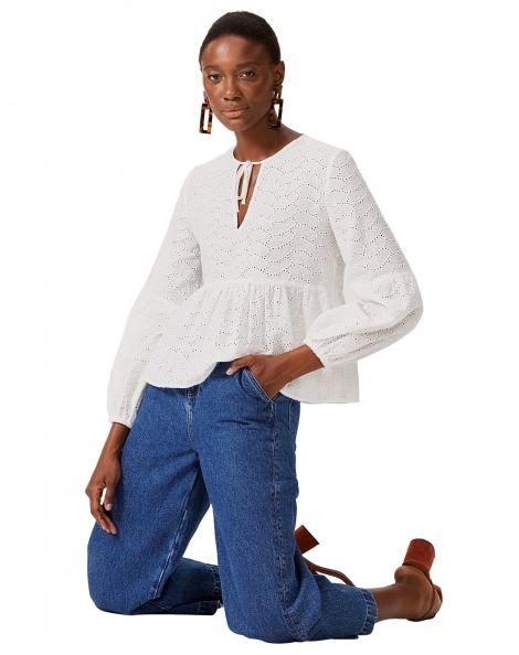 Amaro Feminino Calça Jeans Wide Com Prega Frontal, Azul
