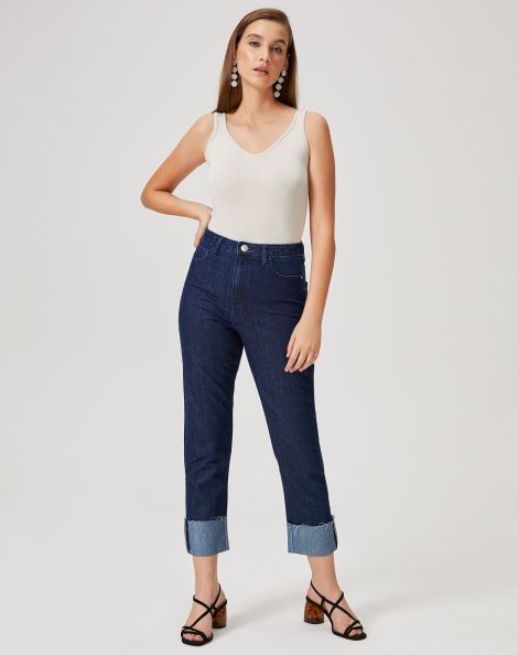 Amaro Feminino Calça Jeans Reta Barra Dobrada, Azul