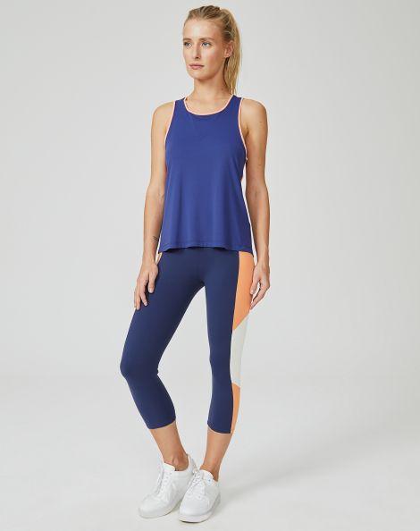 Amaro Feminino Legging Basica Recortes, Azul