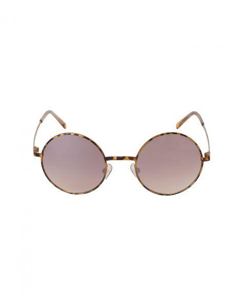 Amaro Feminino Óculos De Sol Redondo Metal, Marrom