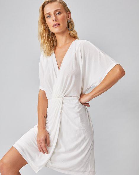 Amaro Feminino Vestido Curto Malha Plissada Torcido Frontal, Branco