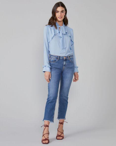 Amaro Feminino Calça Jeans Skinny Com Puído Barra, Azul
