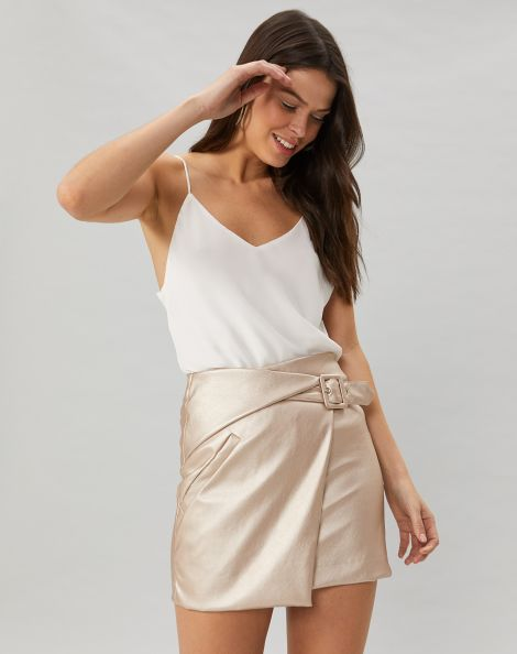 Amaro Feminino Saia Curta Leather Com Transpasse,