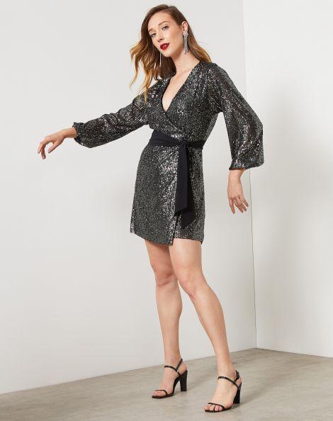 Amaro Feminino Vestido Curto Transpassado Paetê Com Faixa, Preto