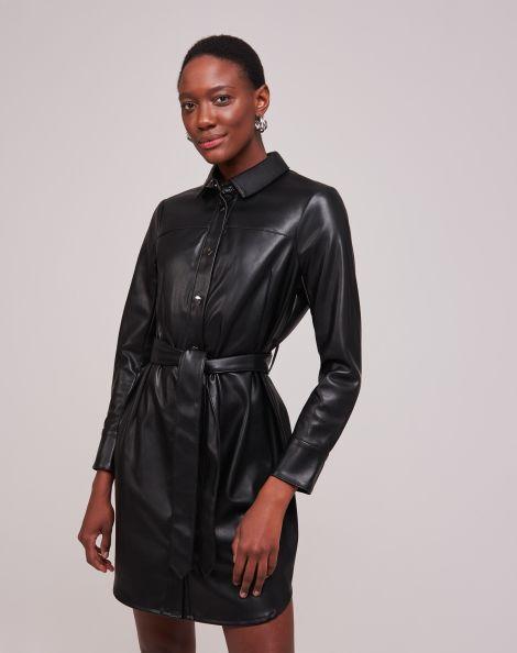 Amaro Feminino Vestido Chemise Leather Com Cinto, Preto