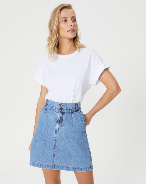 Amaro Feminino Saia Jeans Curta Bolso Faca, Azul