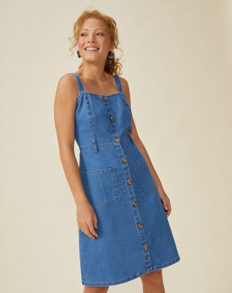Amaro Feminino Vestido Jeans Botões, Azul