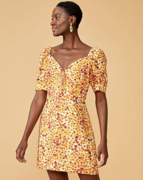 Amaro Feminino Vestido Curto Viscose Com Manga Bufante, Amarelo