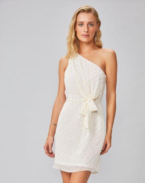 Amaro Feminino Vestido Curto Ombro Único Com Amarração, Branco