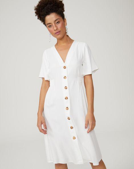 Amaro Feminino Vestido Midi Viscose Decote V, Branco