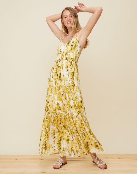Amaro Feminino Vestido Longo Recortes Saia, Amarelo