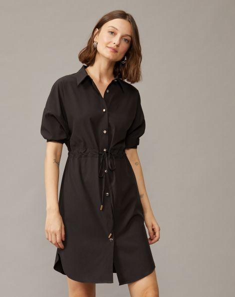 Amaro Feminino Vestido Curto Chemise Amarração, Preto