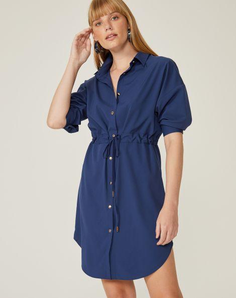 Amaro Feminino Vestido Curto Chemise Amarração, Azul