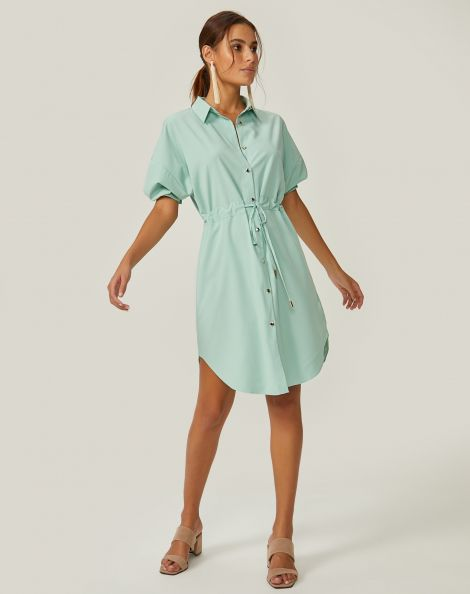 Amaro Feminino Vestido Curto Chemise Amarração, Verde