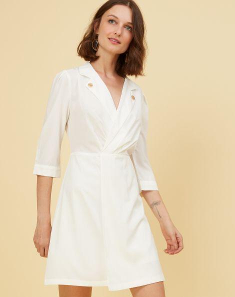 Amaro Feminino Vestido Curto Botão Gola, Branco