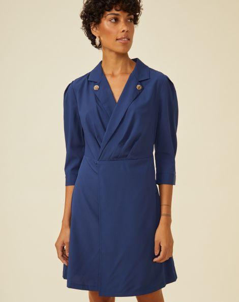 Amaro Feminino Vestido Curto Botão Gola, Azul