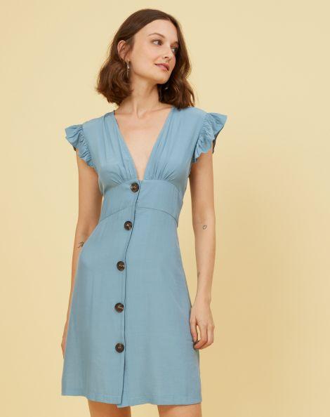 Amaro Feminino Vestido Curto Viscose Babado Ombro, Azul