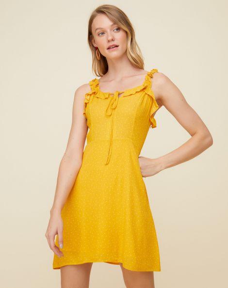 Amaro Feminino Vestido Curto Detalhe Babado Alça, Amarelo