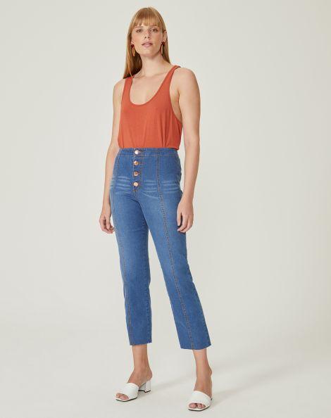 Amaro Feminino Calça Jeans Reta Cintura Alta Costuras Frontais, Azul