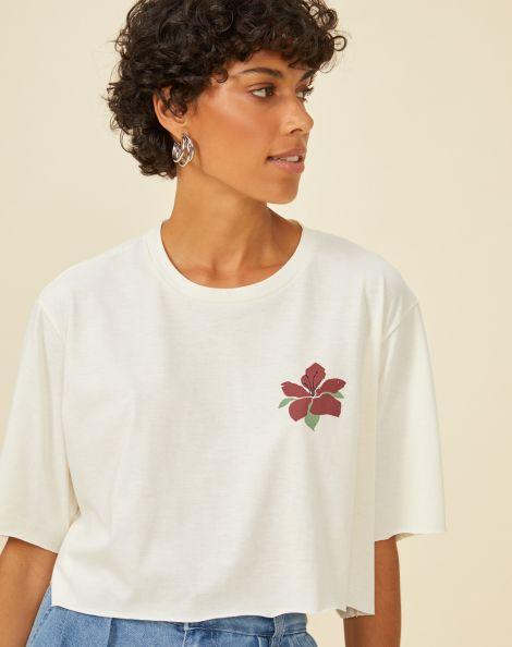 Amaro Feminino T-Shirt Cropped Malha Sustentável Estampa Costas, Branco