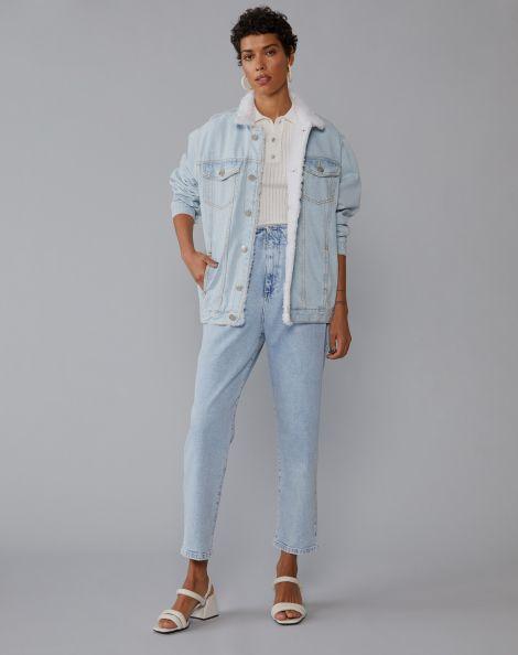 Amaro Feminino Calça Jeans Slim Pences Frente, Azul