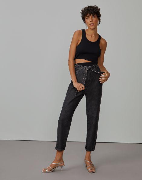 Amaro Feminino Calça Jeans Slim Aplicação Cinto, Preto