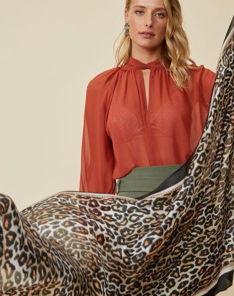 Amaro Feminino Lenço Leopard, Bege