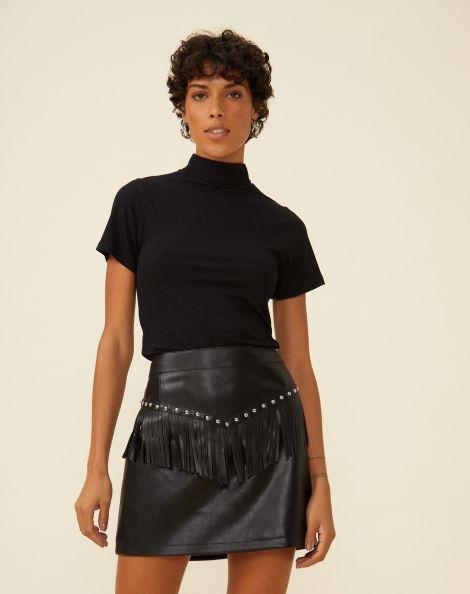 Amaro Feminino Minissaia Detalhe Studs Leather, Preto