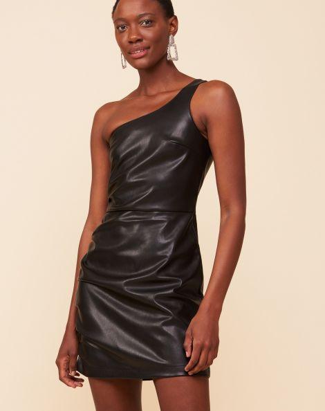 Amaro Feminino Vestido Leather Franzido Lateral, Preto