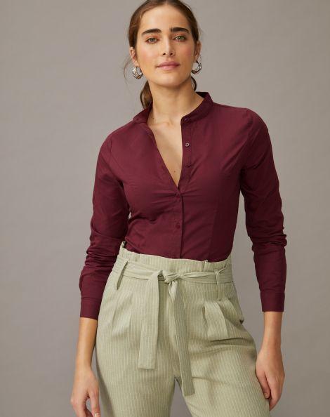 Amaro Feminino Body Tipo Camisa Manga Longa, Vermelho