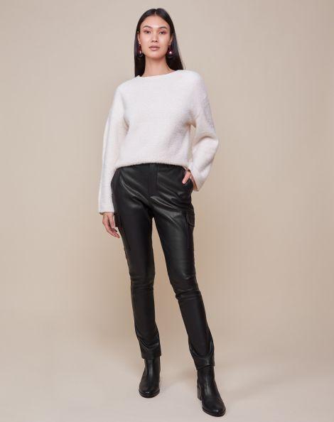 Amaro Feminino Calça Skinny Leather Bolsos Cargo, Preto
