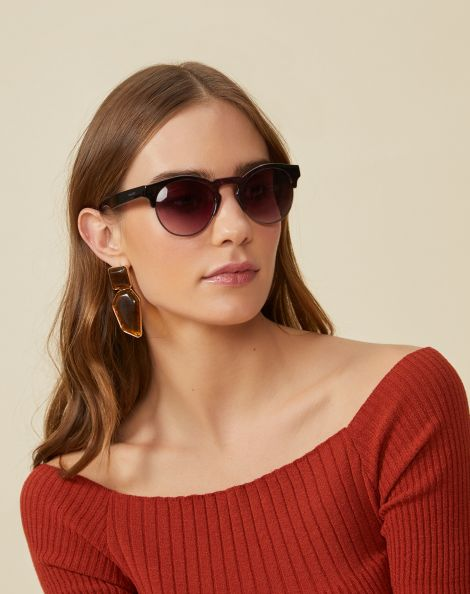 Amaro Feminino Óculos De Sol Redondo Metal E Acetado, Roxo