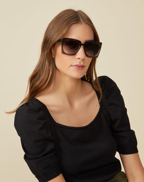 Amaro Feminino Óculos De Sol Quadrado Acetato, Cinza
