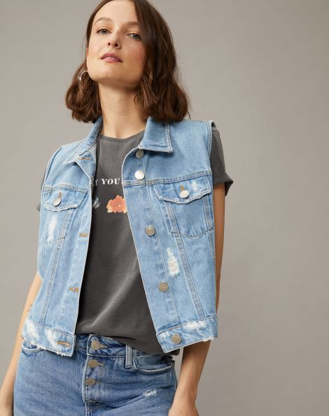 Amaro Feminino Colete Jeans Com Leves Puídos, Azul