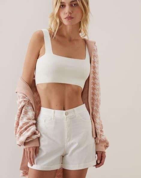 Amaro Feminino Shorts Sarja Essential, Branco