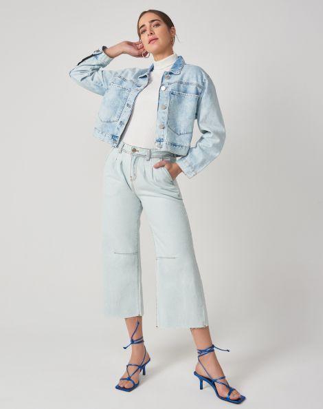 Amaro Feminino Calça Jeans Wide Leg Com Pregas, Azul