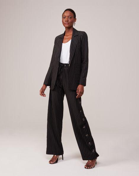 Amaro Feminino Calça Pantalona  Alfaiataria Com Botões Lateral, Multi