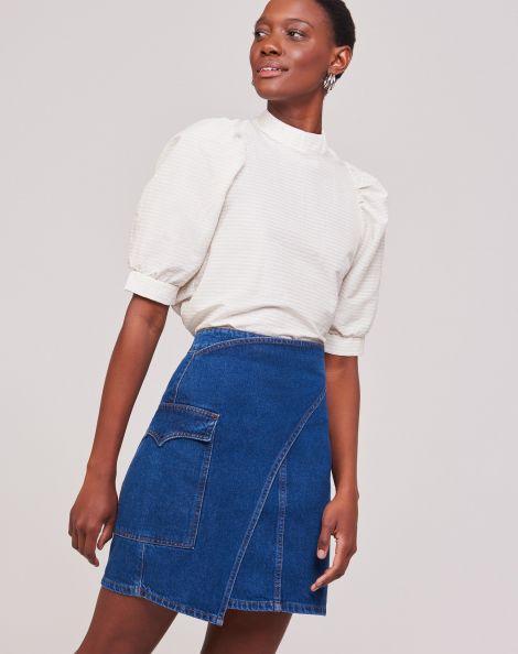 Amaro Feminino Saia Jeans Assimétrica Fivela, Azul