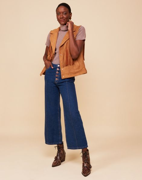 Amaro Feminino Calça Jeans Wide Leg Nervuras, Azul