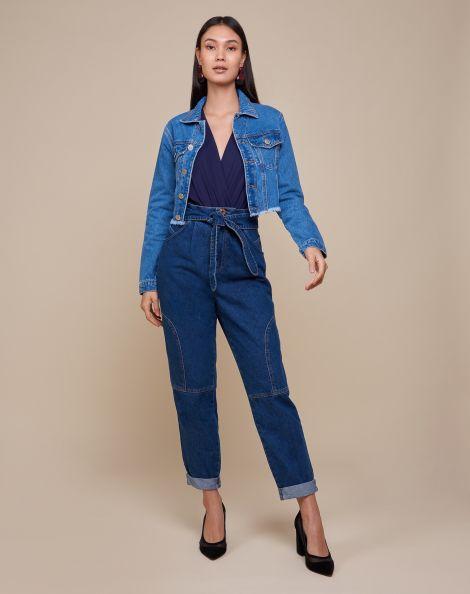 Amaro Feminino Calça Jeans Slim Amarração E Barra Dobrada, Azul